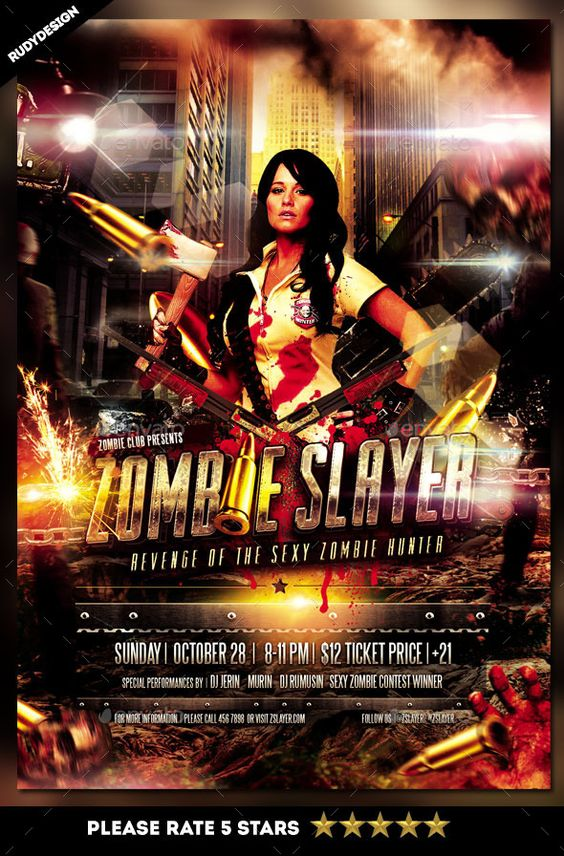 Zombie Slayer Flyer Template Design Flyer template, Template and - Zombie Flyer Template
