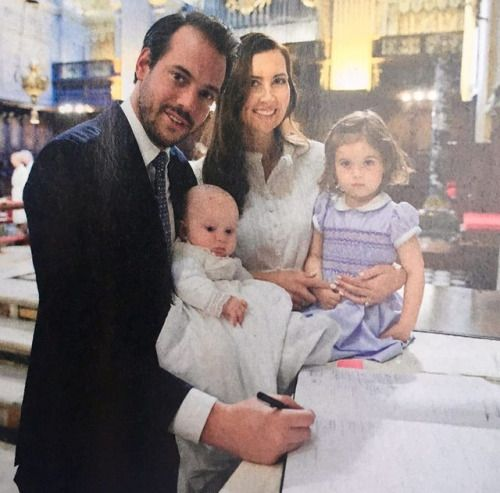"""NEW unpublished photo of Prince Felix and Princess Claire of Luxembourg with their children, Princess Amalia of Nassau and Prince Liam of Nassau, at Liam's christening on April 22nd, 2017 at the Vatican. ""  ""Photo credit: Point de Vue Magazine"""