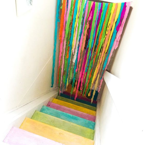 tropical-birthday-party, colourful, coloured-stairs, flamingo-party, disco-party