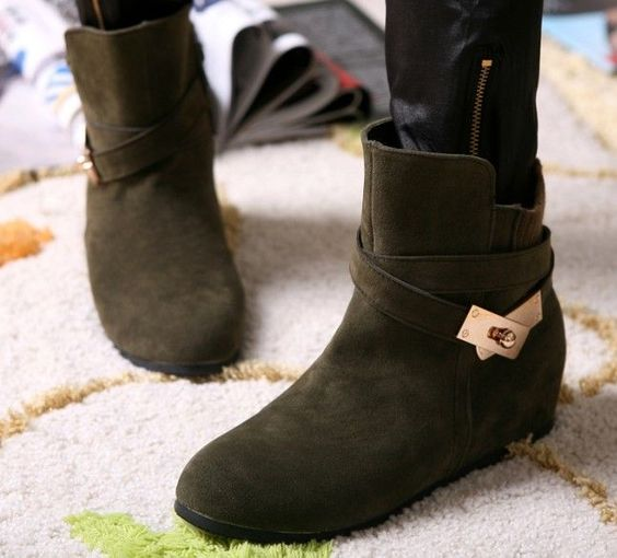 wholesale Women boots winter warm ankle shoes with metal accessories decoration Z-KDS-B-1 #cyberweek shopping