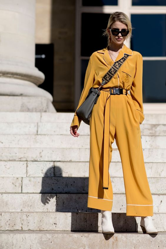 Yellow jumpsuit + white boots Street style, street fashion, best street style, OOTD, OOTD Inspo, street style stalking, outfit ideas, what to wear now, Fashion Bloggers, Style, Seasonal Style, Outfit Inspiration, Trends, Looks, Outfits.