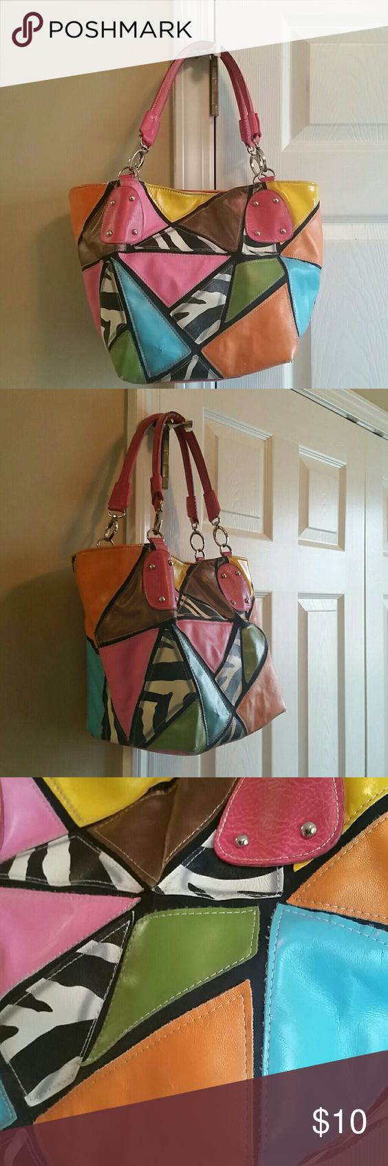 Leather Multi Colored bag. Med.bg?? Med multi Colored hand bag with animal print.... NA Bags Shoulder Bags