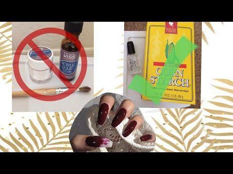 Diy Cornstarch Nails Cheap And Easy No Acrylic Needed Alexis Arreola Youtube Diy Acrylic Nails Acrylic Nails At Home Fake Nails Diy