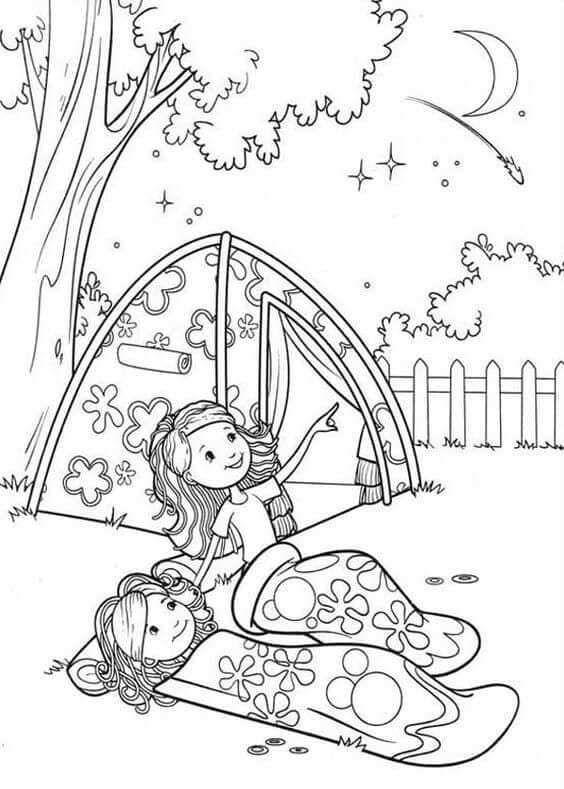 Groovy Girls Camping Coloring Page Com Imagens Desenho De