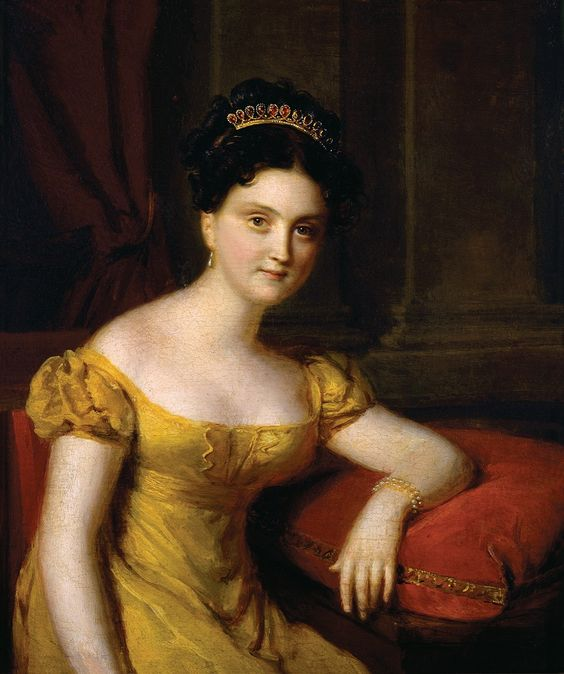 Betsy Patterson Bonaparte wearing a Garnet and Pearl Tiara. c 1803 - America's first self-made female millionaire - click on link for her interesting story: