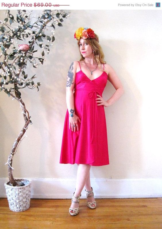FUNDRAISER SALE vintage 70s 80s hot pink wrap by detroitdolly, $44.85