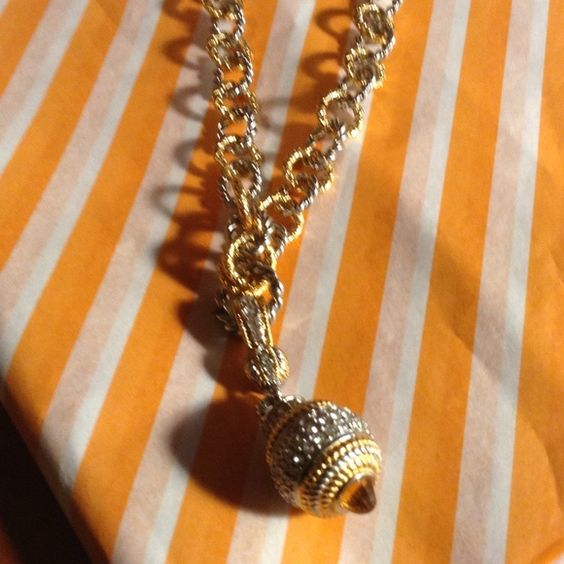 Gold and silver costume necklace. Textured links in gold and silver, removable  rhinestone ball snaps on and off. Wear chain alone, a show stopper . Jewelry Necklaces