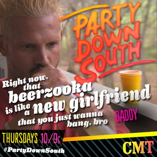 Who wants to try Daddy's #Beerzooka? Check out the Season 2 Premiere of #PartyDownSouth right now on CMT!
