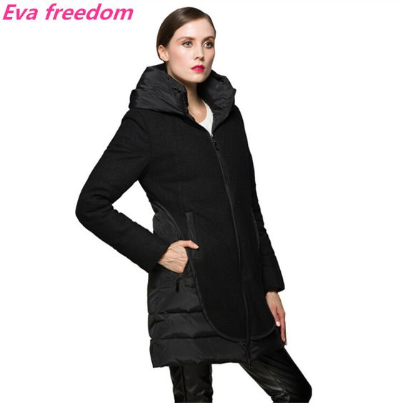 Long Woolen Jacket Stitching Hooded down jacket parka black S-XXL $153.99 => Save up to 60% and Free Shipping => Order Now! #fashion #woman #shop #diy www.yiclothes.net...
