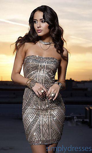 Short Strapless Sequin Dress- Scala Sequin Dress - Simply Dresses ...