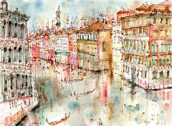 View from Accademia Bridge Venice by Clare Caulfield