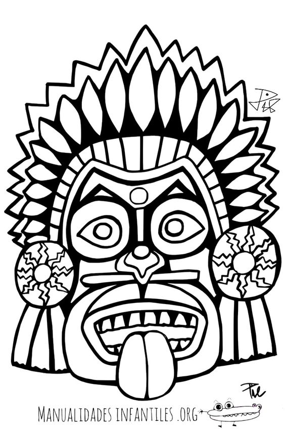 Mascara Maya Para Colorear 4 Mscaras Pinterest Maya