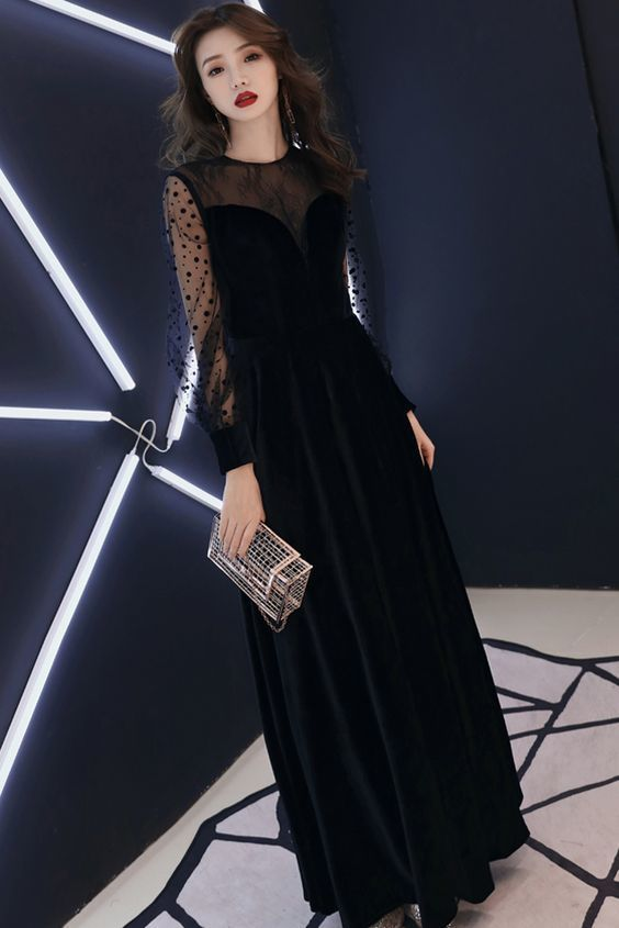 Elegant Black Long Sleeves Floor Length Round Neck Long Prom Dress By Rosyprom 148 19 Usd Beautiful Prom Dresses Soiree Dress Elegant Dresses For Women