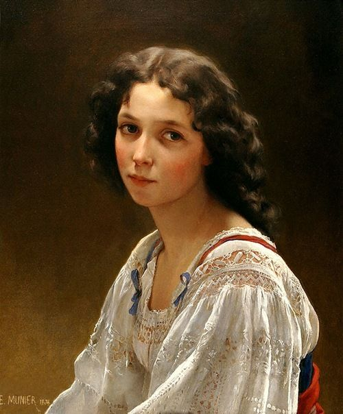 Head of a Young Girl by Emile Munier: