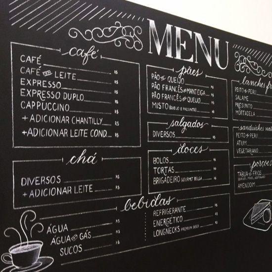 chalkboard menu board