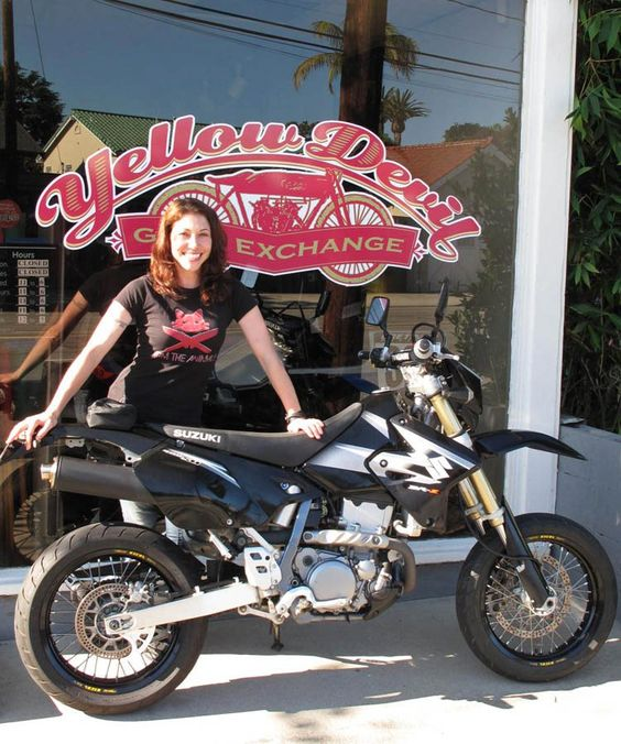 Jessica Prokup (owner of Yellow Devil Gear Exchange in Long Beach, CA) and her new DRZ. She just upgraded from a GSXR… supermoto time!