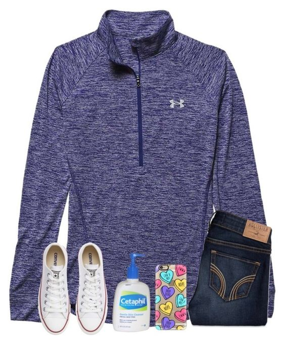 """{almost} exact ootd"" by legitmaddywill ❤ liked on Polyvore featuring Under Armour, Hollister Co., Converse, Cetaphil, Casetify, women's clothing, women, female, woman and misses"
