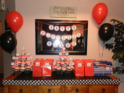 Red and black birthday banner