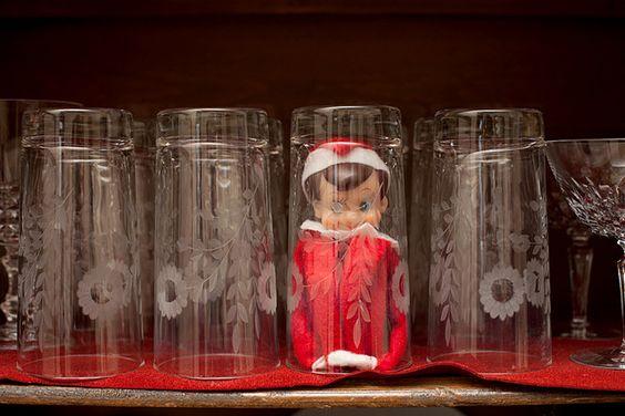 Elf on shelf: Elfie Ideas, Shelf Hiding, Christmas Elf, Elf Fun, Holiday Elf, Elf On A Shelf Ideas Funny, Elf On The Shelf