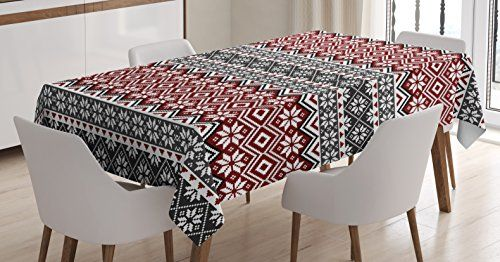 Nordic Tablecloth By Ambesonne Scandinavian Motifs Arrangement Christmas Norway Cultural Inspirations Dini Rectangular Table Kitchen Dining Room Table Covers