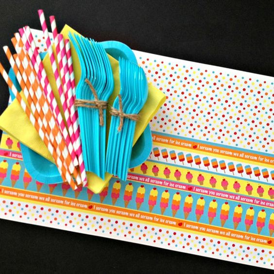 Ice Cream Party Pack, Summer Paper Goods, Ice Cream Paper Placemats on Etsy, $21.00