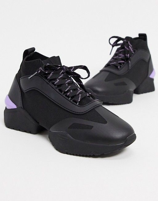 Asos Design Dalton Czarne Buty Sportowe Z Elastyczna Cholewka Na Grubej Podeszwie Asos Sneakers Socks Sneakers Asos Designs