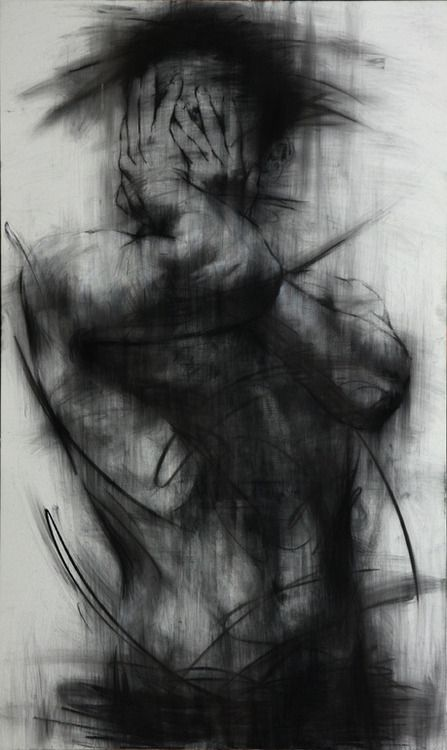 Charcoal Drawing. Smeared beautifully. Conveys a powerful message. Usually not a fan of dark drawings but this is magnificent: