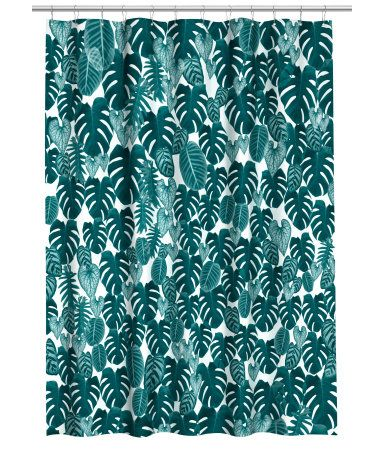 Dark green/leaf. Shower curtain in water-repellent polyester with a printed pattern. Metal grommets at top. Shower curtain rings sold separately.