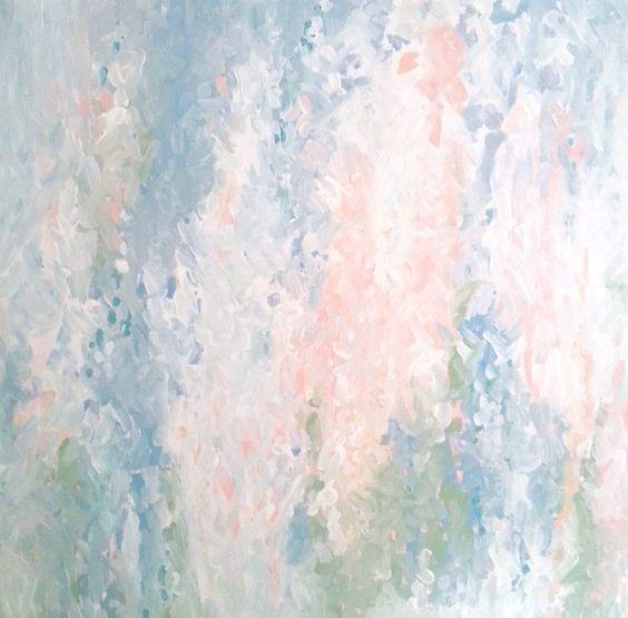 """Bild #02 """"Rosar""""   Helles Rosé und Lachs, Weiß, Eisblau, Himmelbau, Graublau, Mattes Türkis, Mossgrün, Lehmgrau und Rosar (Rosa-Grau); Acrylfarbe auf Leinwand; 900 x 900 mm; Primamalerei, Granulierender und wässriger Farbauftrag mit dem Pinsel, Grundlage ist seidenmattes, weißes Acryl (Jasmin Drubel 2013)"""