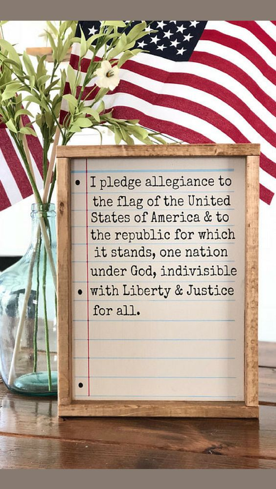 4th Of July Decor, Memorial Day Decor, Patriotic Decor, Pledge Of Allegiance sign, Americana Decor, Farmhouse style, farmhouse decor, Custom gift idea for Veterans, Home decor, Rustic decor #ad #diyhomedecor