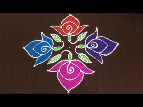 Beautiful Rose Rangoli Designs With 8 To 8 Easy Colours Flower Kolam Youtube Flower Rangoli Rangoli Designs Rangoli Designs With Dots