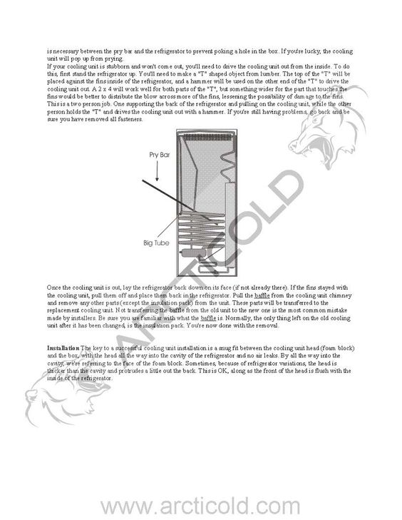 Cooling Unit: Dometic Cooling Unit Replacement Instructions