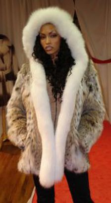 American Cat lynx Fur Jacket White Fox Hood 444 Image