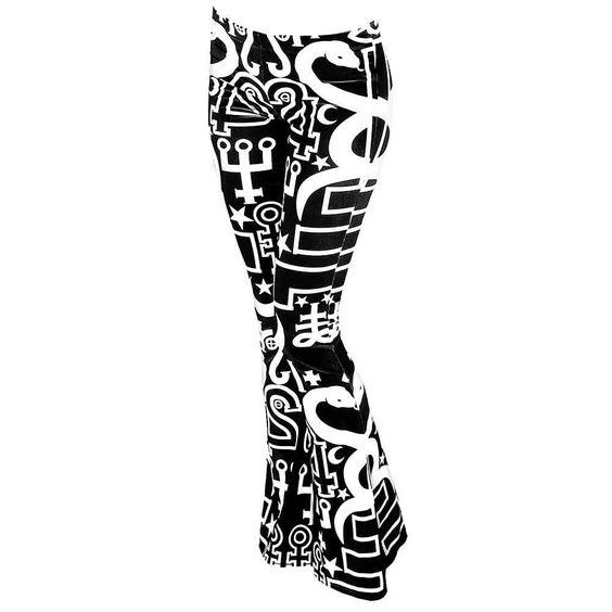 Spiritus fluwelen broek met wijde pijpen zwart/wit - Rock Occult