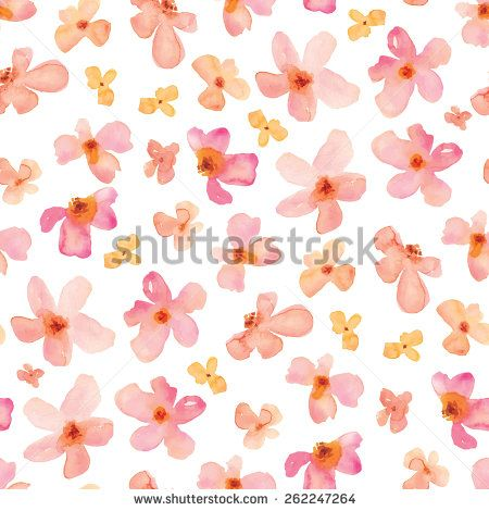 Pink Watercolor Flowers Repeating Background Pattern.