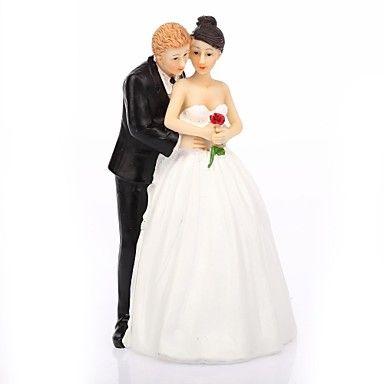 Cake+Topper+Non-personalized+Classic+Couple+Resin+Wedding+White+/+Black+Classic+Theme+Gift+Box+–+USD+$+8.99