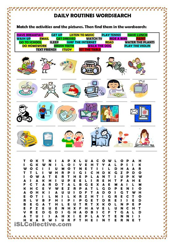 daily routines wordsearch english pinterest student centered resources daily routines and. Black Bedroom Furniture Sets. Home Design Ideas