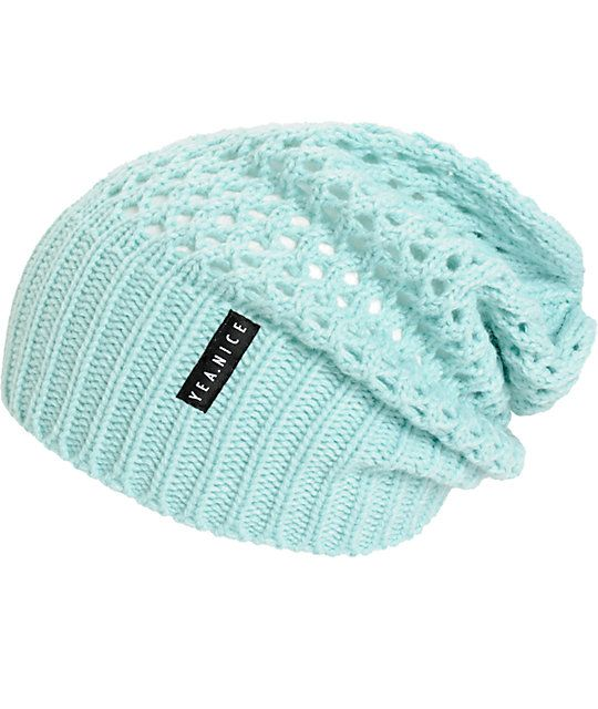 Finish off any look with this solid mint slouch beanie made with a soft open knit construction and a ribbed cuff