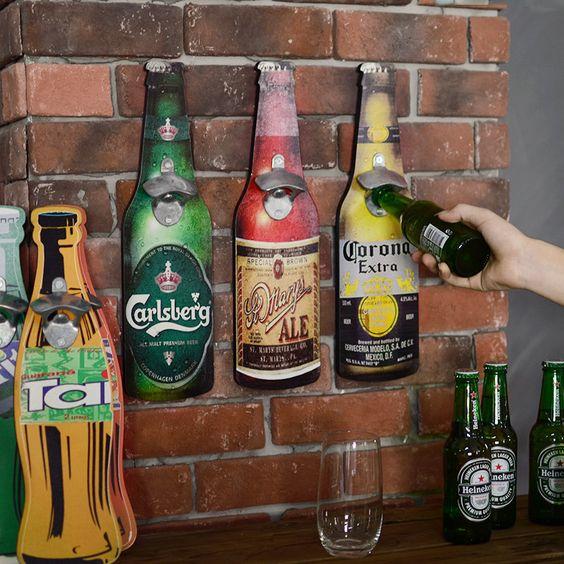 American Eroupean Vintage Style Beer Shaped Wall Bottle Opener Wall Mounted Bottle Opener Beer Bottle Opener Wall Bottle Opener Wall Wall Mounted Bottle Opener