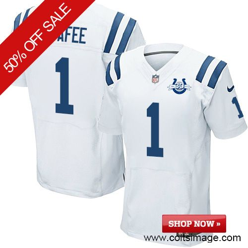 $109.99 Men's Nike Indianapolis Colts #1 Pat McAfee Elite 30th Seasons White Jersey