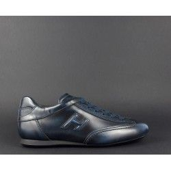 Hogan / Sneakers Olympia Slash Uomo Pelle Spazzolata Blu Scuro ...