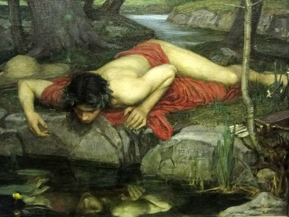 John William Waterhouse |Echo and Narcissus, 1903, detail of Narcissus: