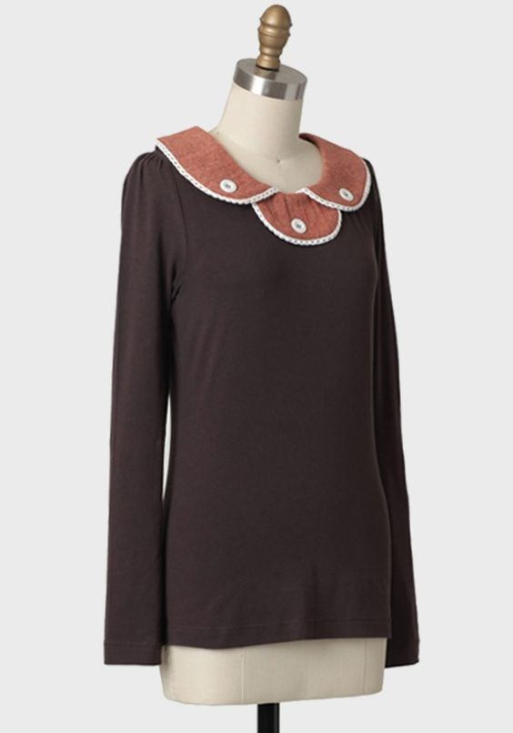 Tweed Spice Collared Top By Knitted Dove   Modern Vintage Tops