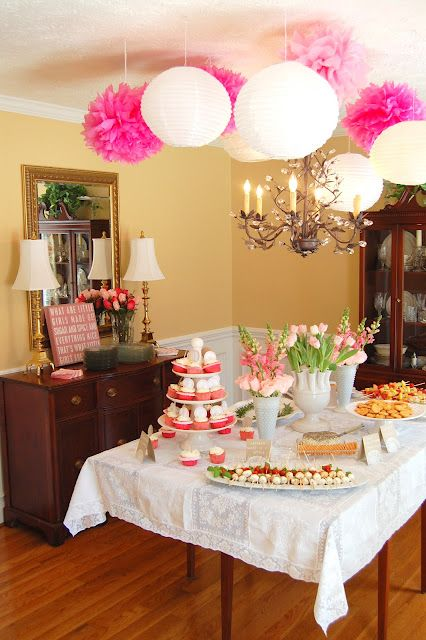 Girly Pink Baby Shower  love the strawberries dipped in white chocolate. Probably could make the white chocolate light pink!!