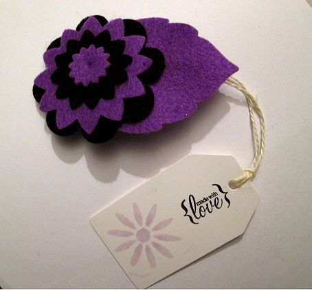 Limited Edition Halloween Black & Purple Felt Flower Brooch Pin DAISY FOREVER f
