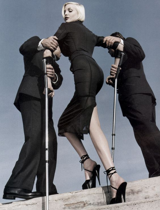 Vogue US, February 1995 ('High & Mighty'). Model: Nadja Auermann. Photographer: Helmut Newton.