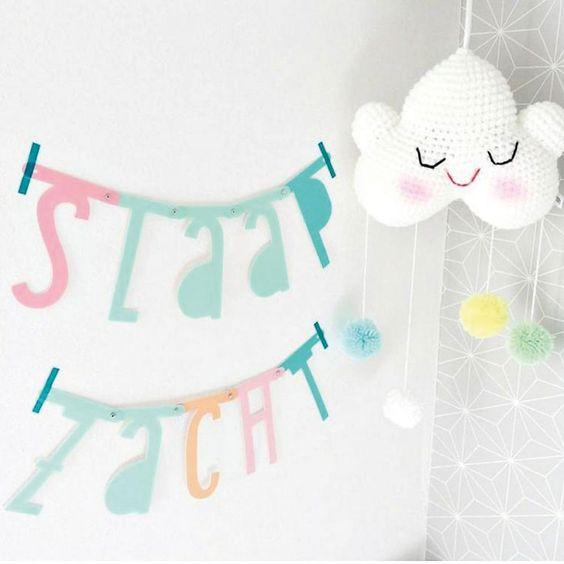 Une super idée pour une bannière d'anniversaire, afficher le nom de votre société sur salon,faire une déclaration d'amour ou mettre un message sur les murs de votre maison !    Cette bannière comporte138 symboles, chiffres, lettres etclips en métal pour créer vos messages personnalisés !    Teinte pastel. D: 5x 10 cm.   15,50 € http://www.lafolleadresse.com/decoration-enfant/3873-banniere-de-138-lettres-symboles-et-chiffres-pastel-a-little-lovely-company.html