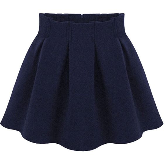 Choies Navy Blue Pleated Mini Skirt ($17) ❤ liked on Polyvore ...