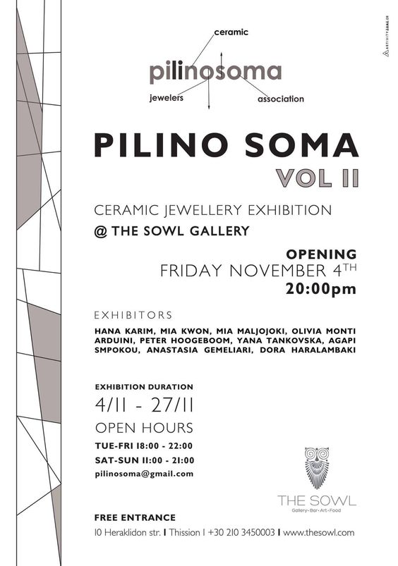PILINO SOMA vol II - ceramic jewelry -  nov 4th 2016 - Athens: