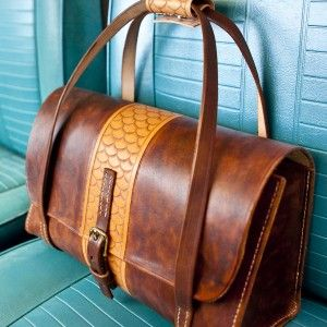Petite Leather Duffel Bag, hand tooled. www.monicajacobson.com
